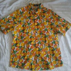Other - Men's button up sz L-XL citrus hipster shirt